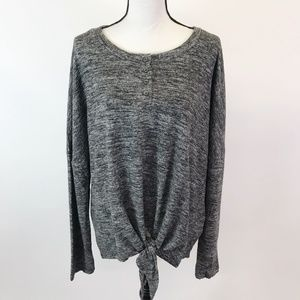 NWT Umgee Soft Fleece Knit Tie Front Top